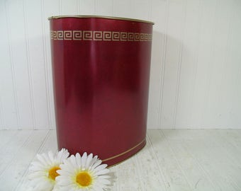 Vintage Ruby Red with Greek Key Gold Trim Style Litho Oval Metal Waste Basket - Mid Century Masculine Maroon Leather Look Library Trash Bin