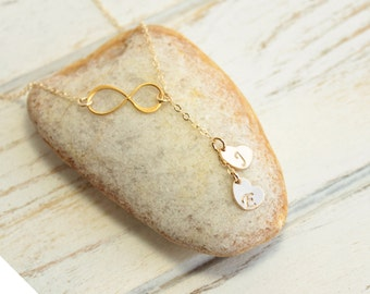 Gold Infinity Lariat Necklace with Two Initial Hearts