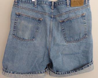 90s  CK Denim jean Grunge Shorts Calvin Klein Boyfriend Shorts Men's 40
