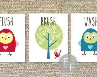 Woodland Owl, Bathroom Printable Wall Art, Owl, Woodland Bathroom- File Download