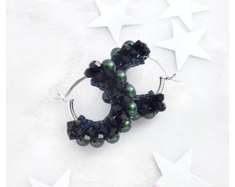 Beaded Earrings / Pearl Hoop Earrings / Round Earrings / Chanel inspired / Pearl Earrings / pierced ears / Circle Earrings / Beaded Hoops