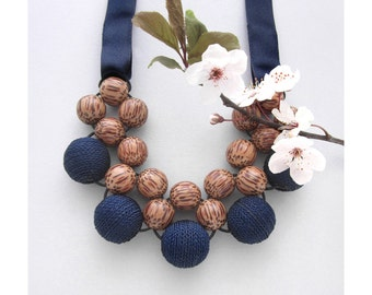 Wooden Necklace / Palmwood Blue Fabric Beads / Wooden Bead Necklace / Statement Necklace / Modern Wooden Necklace / Bib Necklace