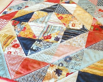 Modern Table Runner - Patchwork Table Topper - Quilted Wall Hanging in Red, Yellow, and Blue  - Ready to Ship