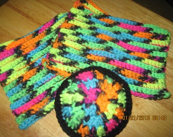 "Set of 3 Crocheted Blacklight Face Wash Cloths and Face ""PUFF"" Scrubber  ....Black & Neon Colors...1568H"