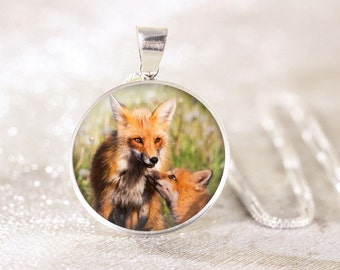 Silver Mother Fox Necklace - Sterling Silver Fox Jewelry, Mother and Baby Jewelry, Red Fox Pendant, Baby Fox Kit, Baby Animal Jewelry Gift