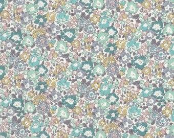 "Liberty Tana Lawn fabric MICHELLE - 17"" wide x 13"" (43cm x 33cm) - aqua, lilac"
