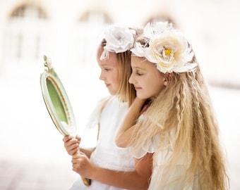 Handmade flower girl hair piece. Flower girls headband. Wedding Princess hair accessory. Flower girls head accessory. Flower girls gift.