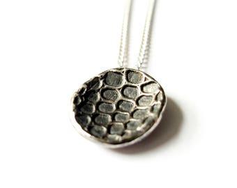 Antivenin Oxidised Domed Snakeskin Effect Necklace Pendant