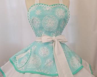 Bridal Blue Pin Up Woman's Apron - Ready To ship, Retro Apron, Kitchen Couture, Snowflake Damask