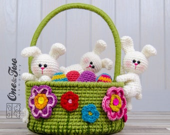 Little Bunnies Easter Basket - PDF Crochet Pattern - Instant Download - Easter Eggs Basket Useful Colorful