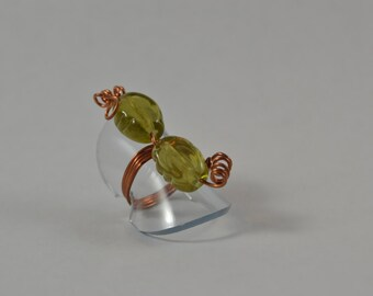 Size 4:  Patinated Copper Wire Wrap Ring w/ Green Beading