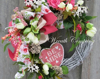 Valentine's Wreath, Heart Wreath, Designer Wreath, Country Cottage Wreath, Country French Wreath, Spring Floral Wreath, Whimsical Valentine