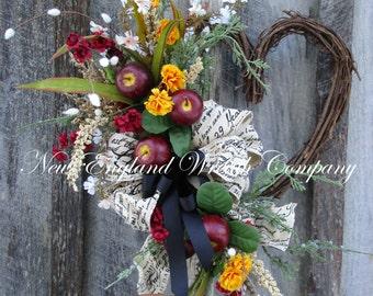 Valentine's Wreath, Heart Wreath, Apple Wreath, Country French Wreath, Country Cottage Wreath, Designer Wreath, Spring Floral Wreath