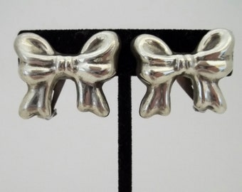Mexico Sterling Silver Clip On Earrings Bows