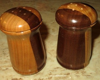 Salt and Pepper Shakers - Hand Crafted Turned Hickory and Walnut Woods - Christmas New Year Hostess Fifth Anniversary Wood Gift - Item 4759