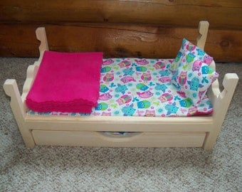 Doll Bed and Trundle made for 18 inch dolls American Girl, 8 pc furniture set, includes 2 pillows, 2 blankets & 2 mattresses Owl print
