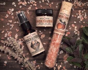 Garden Gift Set - HEIRLOOM + CULTIVATE Bath Salt Hand Cream Bug Spray Sampler Self Care