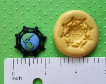 PLANET EARTH MOLD silicone children holding hands flexible food safe 4 fondant chocolate candy polymer clay oreo candle around the world