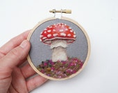 Woodland Toadstool 28 - Needle Felted Wool Painting Hoop - 3""