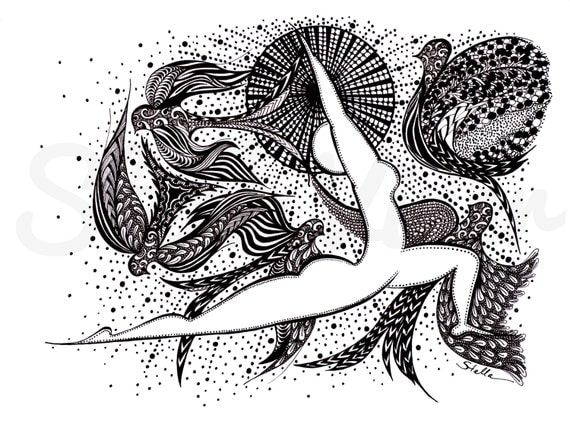 Yoga Art Zentangle WARRIOR l -   print from original design and drawing, yoga wall decor