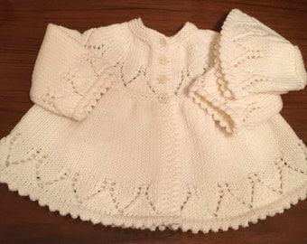 "Baby Matinee Jacket / Sweater 1st Size in Creamy White Italian Merino  Size  17""   Hand Knitted in Scotland"