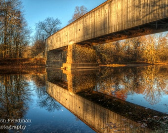 Covered Bridge Photograph Schofield Ford Covered Bridge Landscape Photography Reflection Bucks County Pennsylvania Autumn Tyler State Park