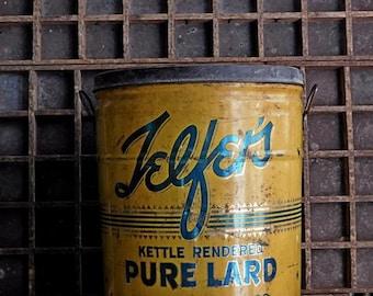 Vintage Telfers Pure Lard Tin, 50lbs Yellow Canister