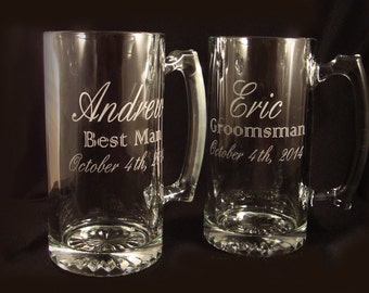 Custom Etched Beer Mugs - Personalized Beer Mugs for your Wedding Party - Groomsman Gift - Usher Gift - Personalized Wedding - Beer Mugs