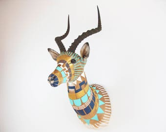 CUSTOM MADE - Hand-painted Taxidermy Antelope Shoulder Mount