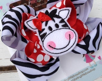 Zebra Bow, Zebra Hairbow, fun bow for the zoo with zebra center, red black and white