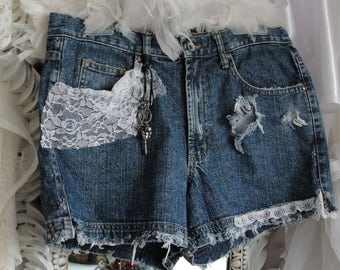 Jean lace shorts, gypsy boho grunge, upcycled, recycled, altered couture
