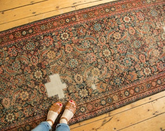3.5x15 Distressed Antique Fereghan Rug Runner
