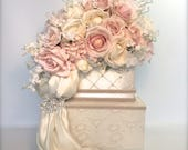 Private Listing for Charlene - Wedding Card Box Ivory Hot Pink Gold Lace Secured Lock Wedding Card Box