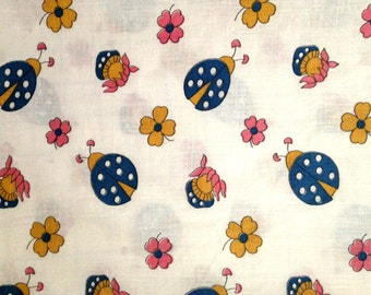 1970's Ladybug and Mushroom Quirky Fabric in thin cotton . flower power . retro 70's material . trippy pink yellow flower