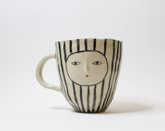 Striped wonky coffee cup