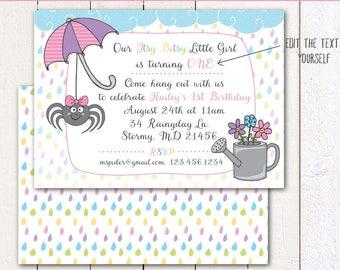 Itsy Bitsy Spider/ Rainbow/ Rainy day Birthday (Instant Download) 5x7 printable invitation and envelope