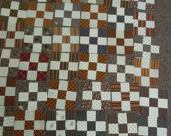 Vintage quilt blocks: 48 nine patch hand pieced featuring madder browns, deep reds and shirting fabrics  late 1800-early 1900 cotton