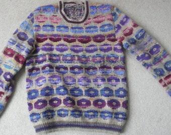 "Kaffe Fassett wool ""Persian Poppies"" sweater XL"