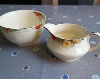Alfred Meakin Royal Marigold sugar basin & small jug 30s 30s tableware