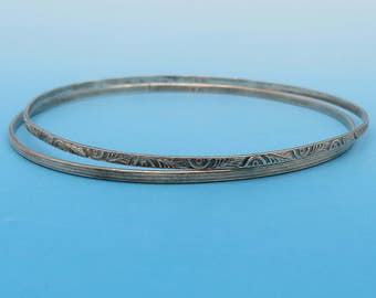 Two Delicate Sterling Bangles - Patterned