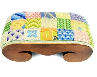 footstool, needlepoint, hand made, ottoman, wood, patchwork, hassock, hand crafted, crazy quilt patchwork style, robins egg blue, chartreuse