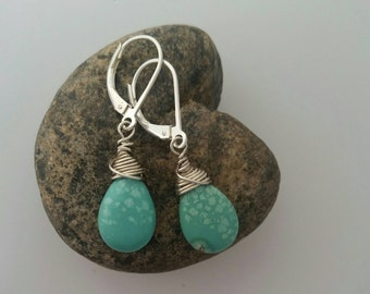 Turquoise Wirewrap Earring, Silver Earrings, Turquoise Teardrop, Drop Earring, December Birthstone, Ready to Ship, Gift For Her, Stocking