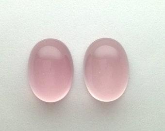 Rose Quartz Oval Cabochon, Pair of Loose Cabochons, luscious light rose pink cab gemstones