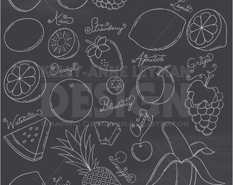 Chalkboard Doodle Fruit Clip Art Set—Hand drawn Food Clipart—Commercial Use—Digital Download Art—Vector Graphics