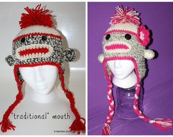 Crochet sock monkey hat - Adult