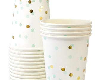 Gold Glitter Paper Cups | Mint and Gold Confetti Paper Cups | Confetti Party Paper Cups - Set of 12