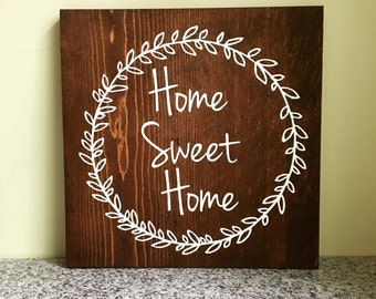 Home Sweet Home Farmhouse Style Wooden Sign