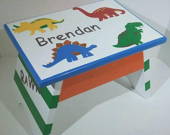 Toddler Step Stool - Dinosaur Step Stool - Dinosaur Kid Decor - Dinosaur Boy Nursery - Boy Dinosaur Room - Playroom - RAWR