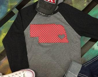 State of Nebraska Baseball Raglan 3/4 sleeve Shirt T-shirt red and white polka dot print
