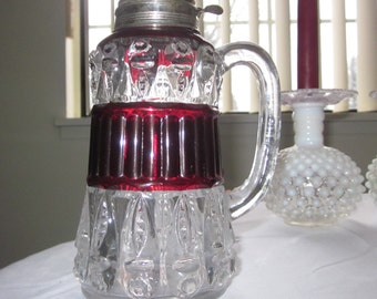 1889 Thompson Glass Co Torpedo Pigmy Fisheye Ruby Stained Syrup Pitcher Antique EAPG ,charming glass,tabletop,Shabby Chic